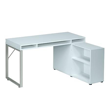 MAJA Schreibtisch Computertisch / wechselseitig montierbar in Metall platingrau / Icy Weiß 150x78x117,7cm