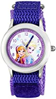 Disney Kids' Frozen Elsa & Anna Stainless Steel watch, W001228, Purple Stretch Nylon Strap, Analog Display, Analog Quartz, Purple Watch from Disney