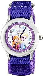 Disney Kids' W001228 Frozen Elsa & Anna Analog Watch With Purple Nylon Strap