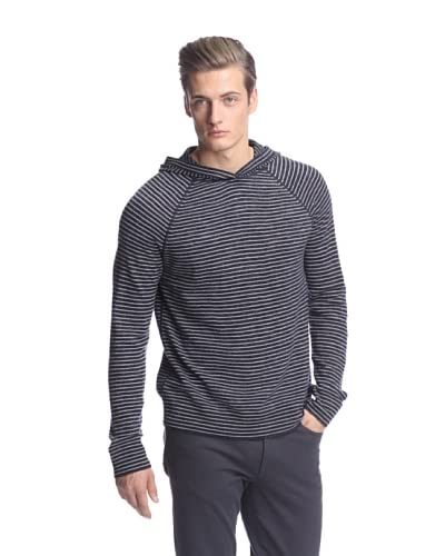 Vince Men's Striped Heather Fine Gauge Hoodie