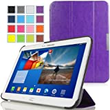 MoKo Samsung Galaxy Tab 3 10.1 Case - Ultra Slim Lightweight Smart-shell Stand Cover Case for Samsung Galaxy Tab 3 10.1 Inch GT-P5200 / GT-P5210 Android Tablet, FM PURPLE (with Smart Auto Wake / Sleep Feature, WILL NOT Fit GALAXY Tab 4 10.1)