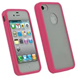 IGadgitz Pink Hard Case & Gel (Thermoplastic Polyurethane TPU) Edged Cover for Apple iPhone 4S 16GB 32GB 64GB + Screen Protector