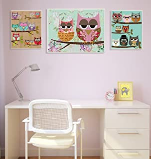 The Kids Room by Stupell Patchwork Owls on Branches 3-pcs. Multi-Size Wall Plaque Set