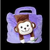 "Biaba Collection Cute Animal Face Super Soft Velvet Covering Baby Bag Cum Blanket Size 42 X 56"" Dynamic & Good For Baby"