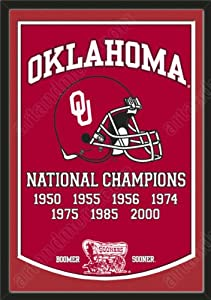 Dynasty Banner Of Oklahoma Sooners With Team Color Double Matting-Framed Awesome... by Art and More, Davenport, IA
