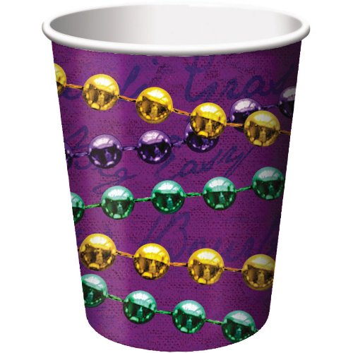 Creative Converting Mardi Gras Hot or Cold Beverage Cups with Rue Bourbon Design, 8 Per Package