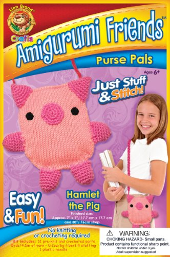 Lion Brand Yarn APP-AM9 Amigurumi Friends Purse Pals Kit, Hamlet The Pig (Wicked Good Finds compare prices)