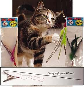 Da Bird Value Pack (1 Da Bird Original Single 3 Foot Pole Cat Toy & 2 Extra Guinea Feather Refills)