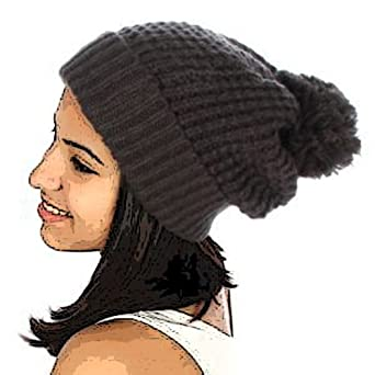 Simple Pom Pom Knit Hat (Charcoal)