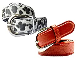 WHOLESOME DEAL women's white and red synthetic leather pin buckle belt (pack of two)