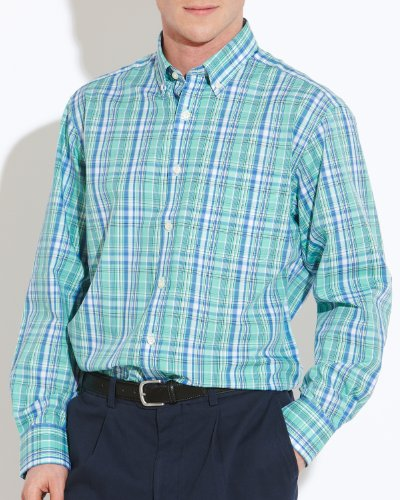 Savile Row Men's Green Blue Check Buttondown Collar Casual Shirt Size Small