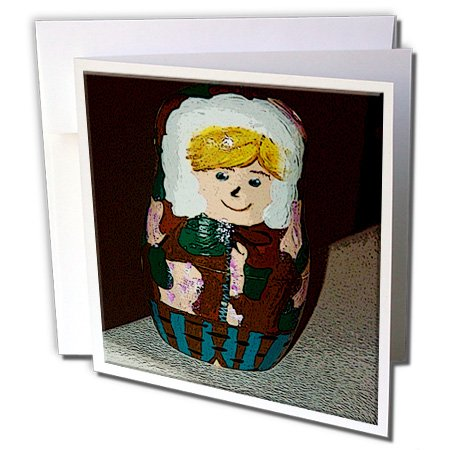 Jos Fauxtographee Realistic - Russian Stacking Doll Painted as a Boy in a Parka of Camouflage in Brown and Greens with Blonde Hair - 6 Greeting Cards with envelopes (gc_48308_1)