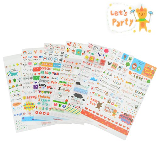 6 Sheets Craft Sticker, Marrywindix Tech Decorative Scrapbooking Diary Album Sticker Adhesive
