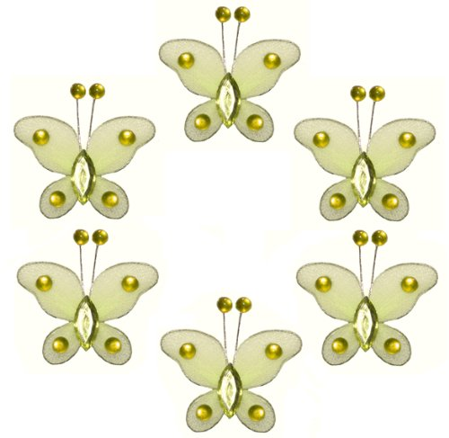 "Butterfly Decor 2"" Yellow Mini (X-Small) Bead Butterflies 6Pc Set. Decorate For A Baby Nursery Bedroom, Girls Room Ceiling Wall Decor, Wedding Birthday Party, Bridal Baby Shower, Bathroom. Decoration For Crafts, Scrapbooks, Invitations, Parties"
