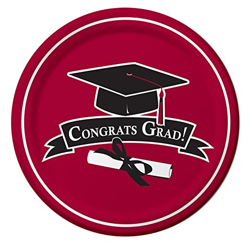 Creative Converting 18 Count Congrats Grad School Color Dinner Paper Plates, Burgundy - 1