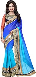 Trishulom Cloth's Online Women's Georgette Sarees With Blouse Piece (Blue)