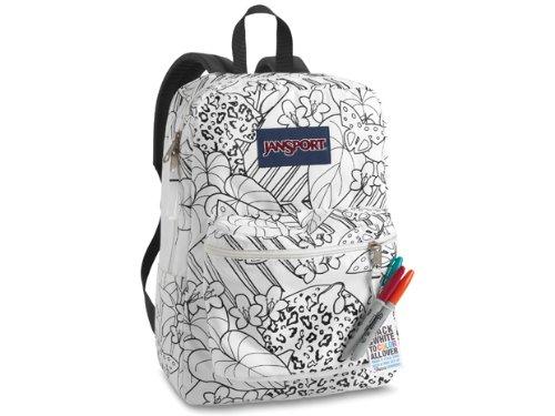 JanSport Super G School Backpack (White/Black Jungle