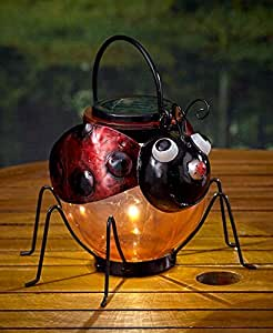 Solar lighted watering can pitcher whimsical red ladybug garden yard outdoor - Ladybug watering can ...