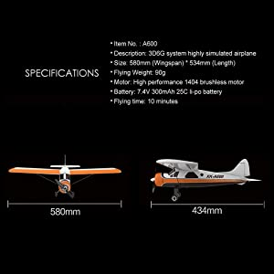 BLACKOBE RC Airplane, EPS Material Remote Control Airplane Xk Brushless Motor 3d6g Rc Airplane, Dhc-2 A600 4ch 2.4g 6 Axis Glider Easy to Control, Steady Flig, Gift for Kids, Beginners, Adult (Color: Yellow, Tamaño: 4.3 × 1.7 × 12cm / 1.7 × 0.7 × 0.5in)