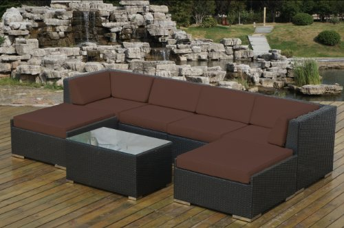 Genuine Ohana Outdoor Patio Wicker Furniture 7pc Sofa Set with Free Patio Cover photo