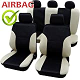 SB102 - Qualität Auto Sitzbezug Sitzbezüge Schonbezüge Schonbezug mit Seitenairbag Schwarz / Beige