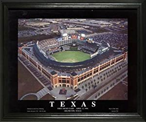 Texas Rangers - Ballpark in Arlington Aerial - Night - Lg - Framed Poster Print by Laminated Visuals