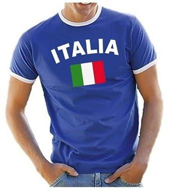 Coole-Fun-T-Shirts Herren T-Shirt Italien Ringer, blau, S, 10840_Italien_HERI_GR.S