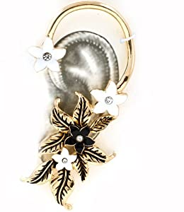 Gorgeous Goldtone Enamel Jeweled Flower Wrap Ear Cuff