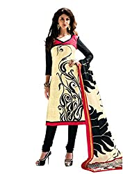 Drapes Women's Cotton Printed Unstitched Dress Material (Beige)