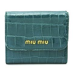 (ミュウミュウ)MIUMIU 折財布 5M1366 ST.COC LUX OTTANIO/NKG F0491 財布 Wホック クロコダイル型押し レザー オッタニオ [並行輸入品]