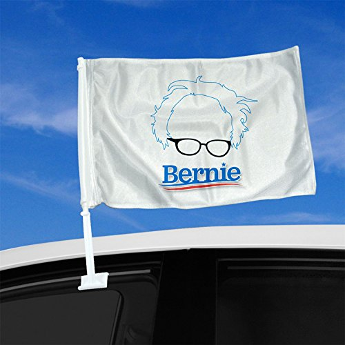 Double Sided Car Flag - Bernie Sanders for President Hair Logo 2016