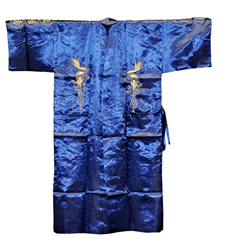 Hinky Imports Embroidered Calligraphy Dragon Robe, Chinese Kimono Robe