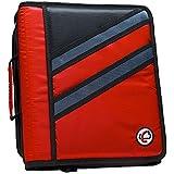 Case-it Z-Binder Two-in-One 1.5-Inch D-Ring Zipper Binders, Red, Z-176-RED