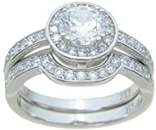buy Halo Setting Cz Wedding Ring Set In Sterling Silver