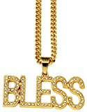 AlwaysBling Hip Hop Mode plaqué or gros cristaux BLESS collier pendentif
