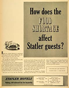 1943 Ad Statler Hotel Chain WWII Food Shortage Rationing Conservation Wartime - Original Print Ad