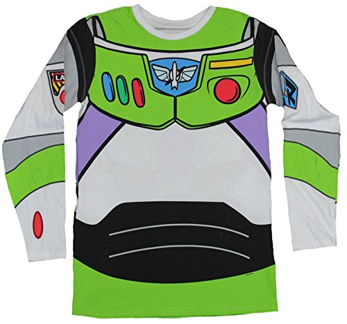 [Toy Story Long Sleeve Mens T-Shirt - Buzz Lightyear Fancy Costume Front & Back (Medium) White] (Buzz Lightyear Shirt Costume)