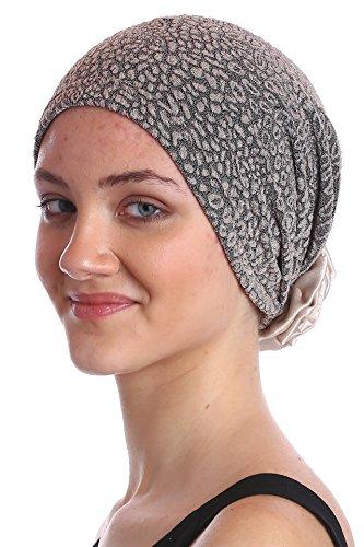 Brokat-Kopfbedeckung-Mit-Handgemachte-Satin-Rose-fr-Krebs-Haarverlust