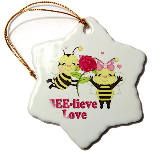 Orn_102474_1 Dooni Designs Valentines Day And Love Designs - Cute Believe In Love Bumble Bees Valentine - Ornaments - 3 Inch Snowflake Porcelain Ornament front-237814