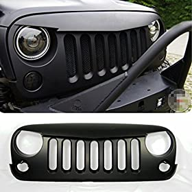 Front Matte Black Angry Bird Grille Grid Grill for Jeep Wrangler Rubicon Sahara Jk 2007-2014