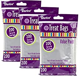 Darice 28-001V 3-Inch-by- 4-3/4-Inch Clear Treat Bag 200-Pieces (3)