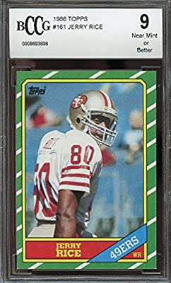 1986 topps #161 JERRY RICE san francisco 49ers rookie card BGS BCCG 9 Graded Card