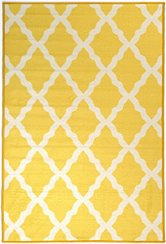 Ottomanson Glamour Collection Yellow Contemporary Moroccan Trellis Design Non-Slip Kids Rug, 3'3
