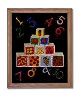 Counting Block Kids Room Child Home Decor Wall Picture Oak Framed Art Print