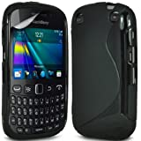 Gadget Giant Blackberry Curve 9320 - S Line Gel Grip Silicone Case Cover & LCD Screen Protector (Black)