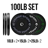 OneFitWonder Contrast Bumper Plate Sets/Virgin Rubber with Steel Insert + Color Contrast Lettering/Crossfit, Strength Training and Weightlifting Equipment (100)