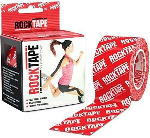 Rocktape Kinesiology Tape for Athletes - 2-Inch x 16.4-Feet (Red Logo) Over Logo Sock