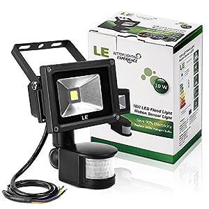 [Upgraded Version] LE® 10W Super bright Motion Sensor Light, Outdoor LED Flood Lights(700lm, 100W Halogen Bulb Equivalent, 6000K Daylight White), Waterproof LED Security Light, PIR Floodlight