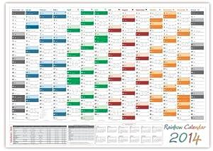 Rainbow Home Wandkalender 2014 - Format DIN A2 (420 x 594 mm) mit 14 Monaten und Jahresvorschau 2015 - Lieferung der Kalender erfolgt gerollt
