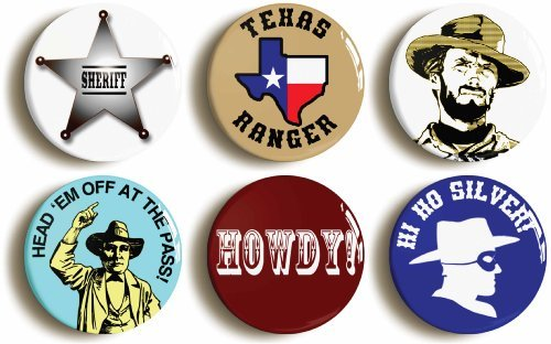 "6 x ""WILD WEST COWBOY"" COSTUME PARTY BADGES PINS BUTTONS (1inch/25mm diameter)"